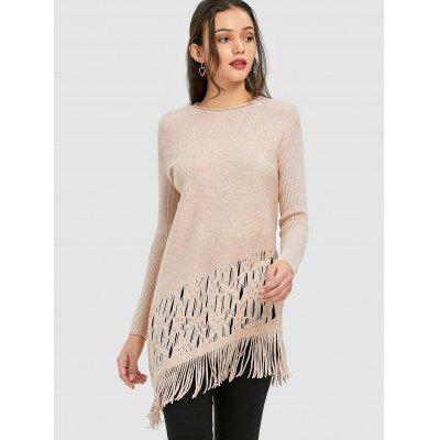 Asymmetrical Fringed Cut Out Sweater