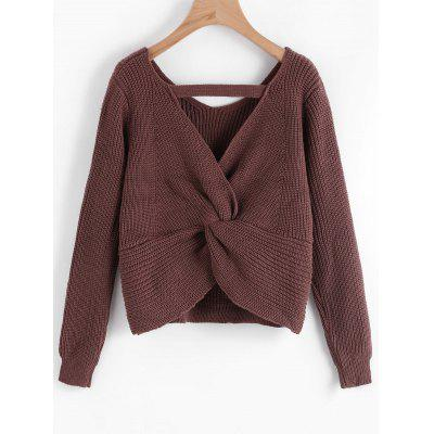 Twisted Back Cut Out Sweater