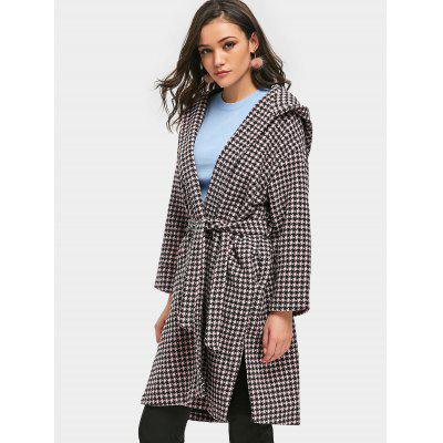 Houndstooth Hooded Wrap Coat