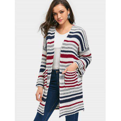 Striped Open Front Chunky Cardigan