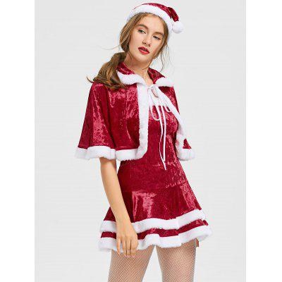 Buy RED AND WHITE S Christmas Two Tone Strapless Dress and Cape for $33.49 in GearBest store