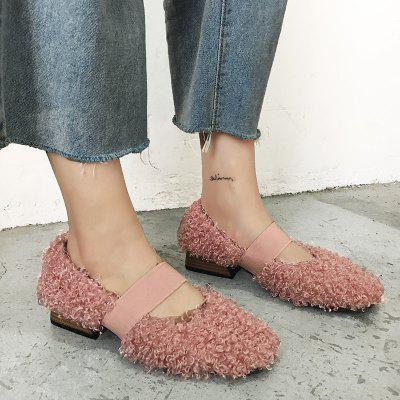 Fuzzy Warm Mary Janes Slip On Flat Shoes