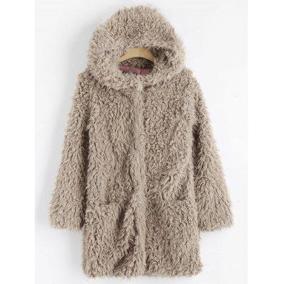 Faux Lamb Wool Hooded Coat with Pocket