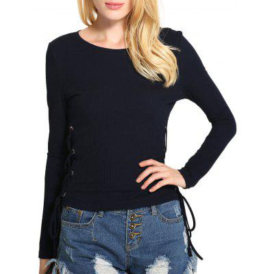 Side Lace Up Ribbed Sweater