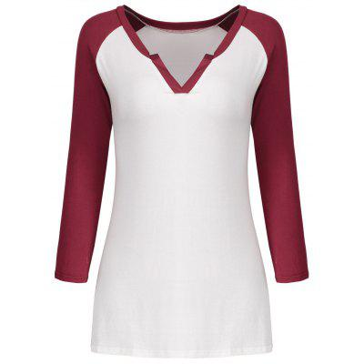 V Neck Color Block Raglan Sleeve Tee