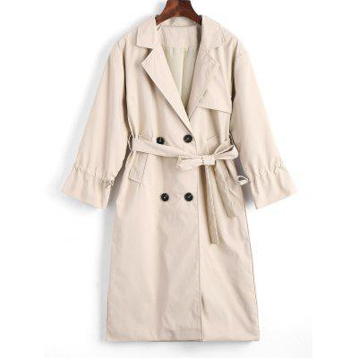 Belted Button Up Lapel Trench Coat