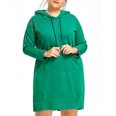 Plus Size Letter Hooded Dress with Pocket