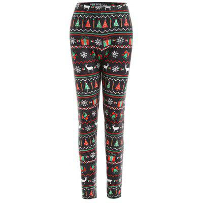 Christmas Tree Elk Snowflake Print Plus Size Leggings цена 2017