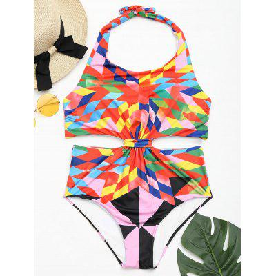 One Piece Colorful Geometric Print Swimsuit