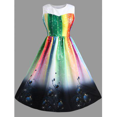 Buy Plus Size Sleeveless Rainbow Midi Christmas Dress, COLORFUL, 4XL, Apparel, Women's Clothing, Plus Size, Plus Size Dresses for $30.85 in GearBest store