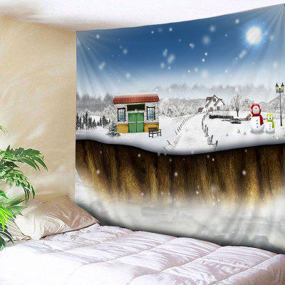Wall Hanging Art Snowy Christmas House Print Tapestry