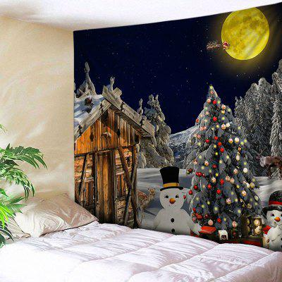 Wall Hanging Art Christmas Forest House Print Tapestry