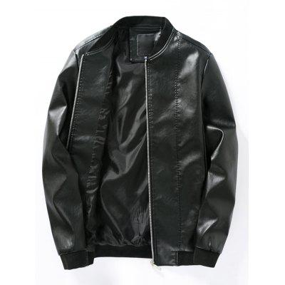 Buy Stand Collar Rib Panel PU Leather Bomber Jacket BLACK 2XL for $53.57 in GearBest store
