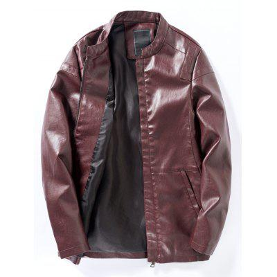 Buy Stand Collar Panel PU Leather Zip Up Jacket, WINE RED, 2XL, Apparel, Men's Clothing, Men's Jackets & Coats for $53.43 in GearBest store