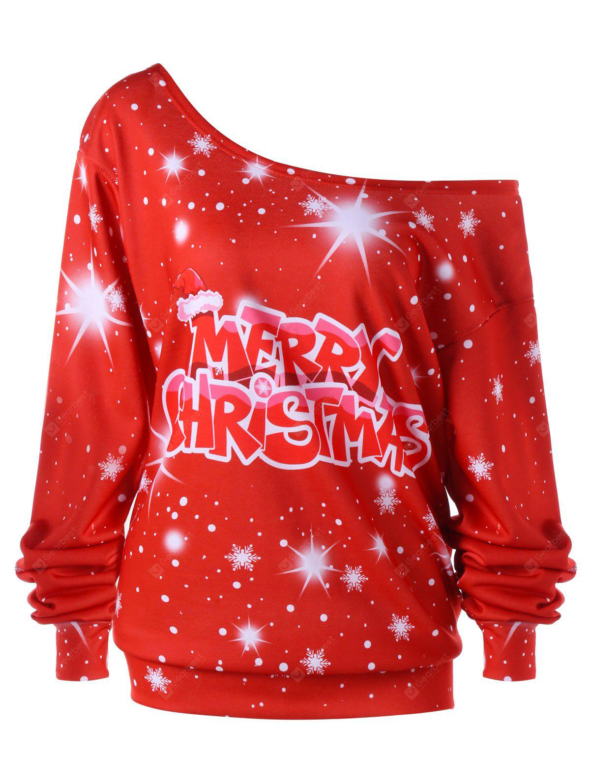Merry Christmas Plus Size Skew Colllar Sudadera