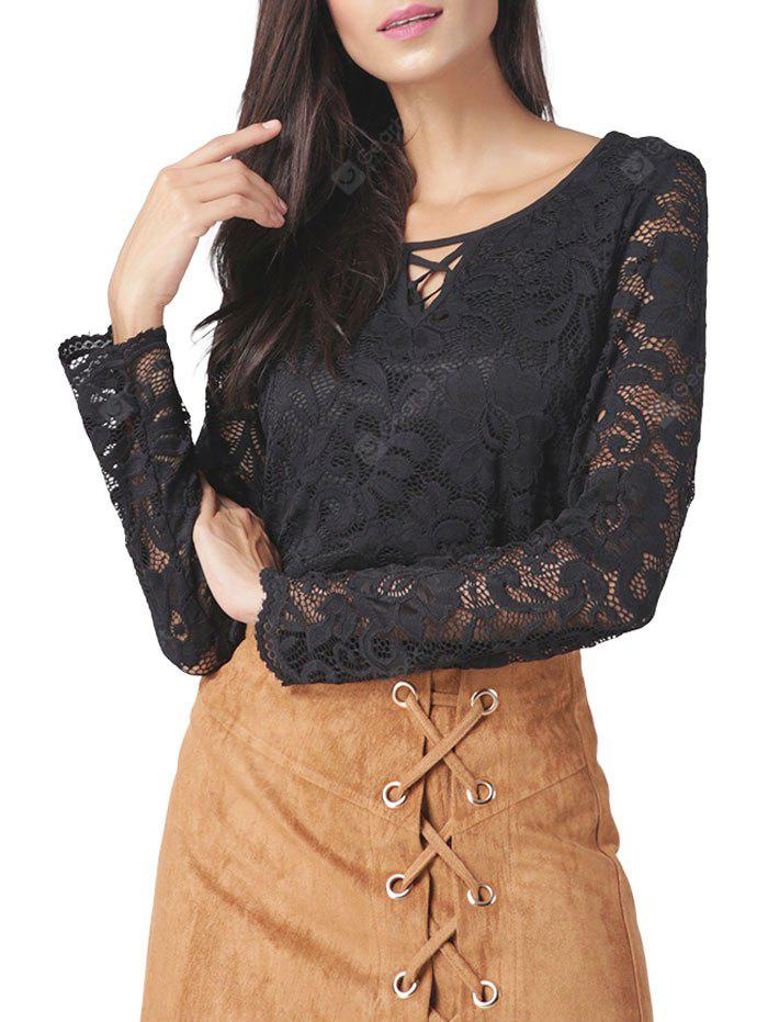 Hollow Out Long Sleeve Lace Blouse