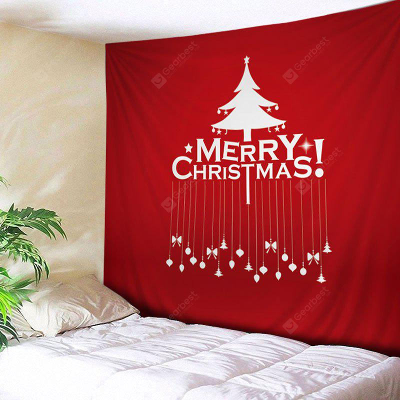 RED Wall Hanging Art Merry Christmas Tree Print Tapestry