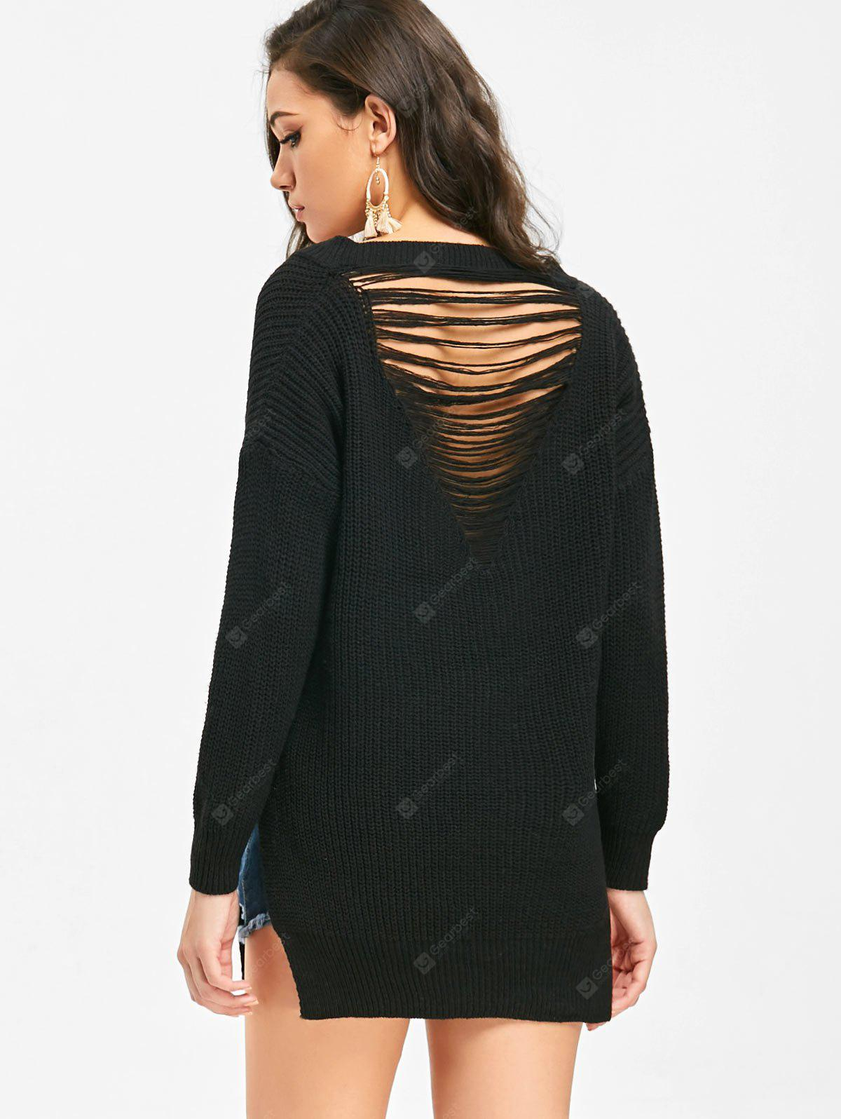 Side Slit Destroyed V Neck Sweater
