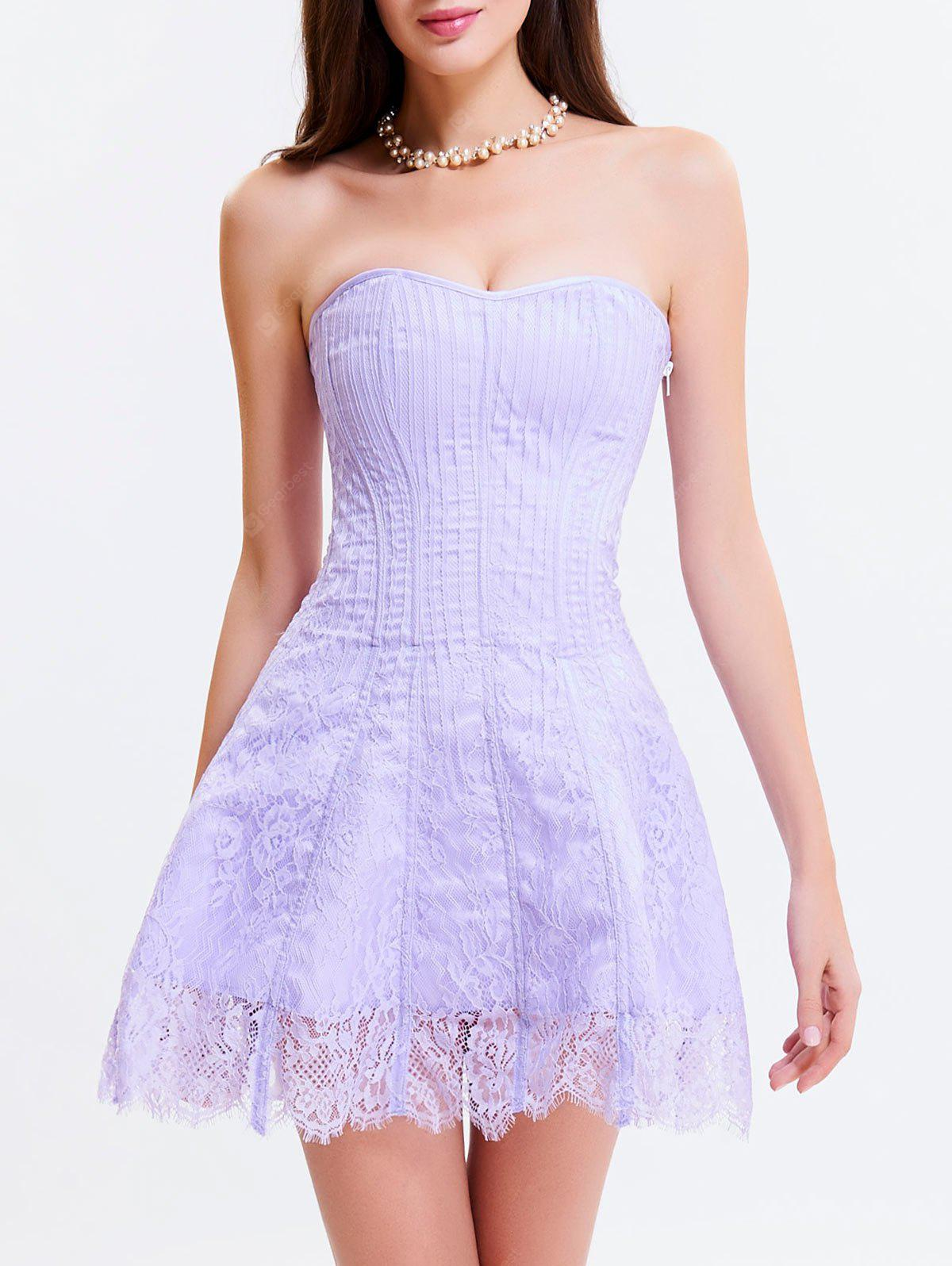 LIGHT PURPLE L Tie Up Zipper Gothic Lace Corset Dress