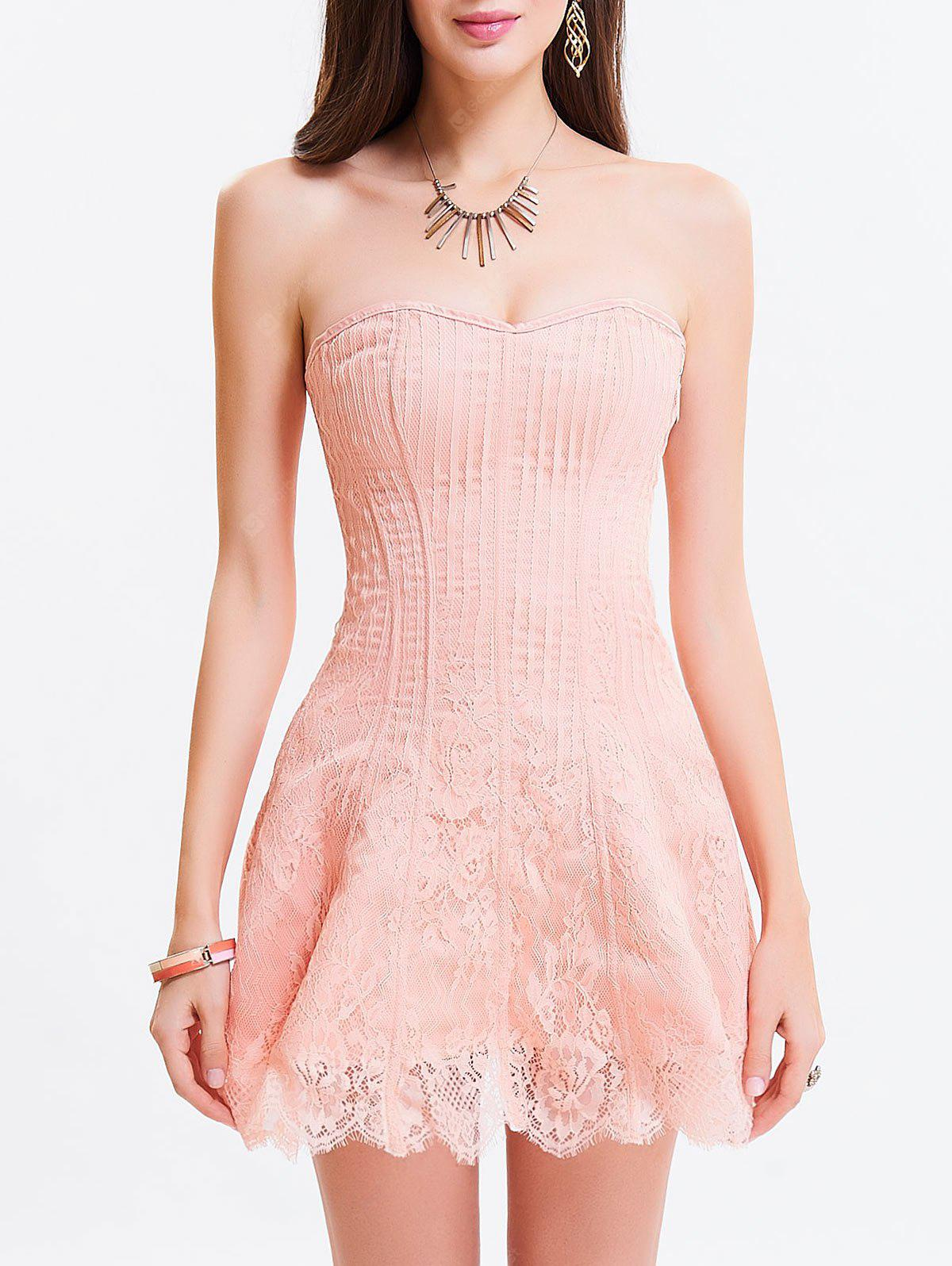 LIGHT PINK 2XL Tie Up Zipper Gothic Lace Corset Dress