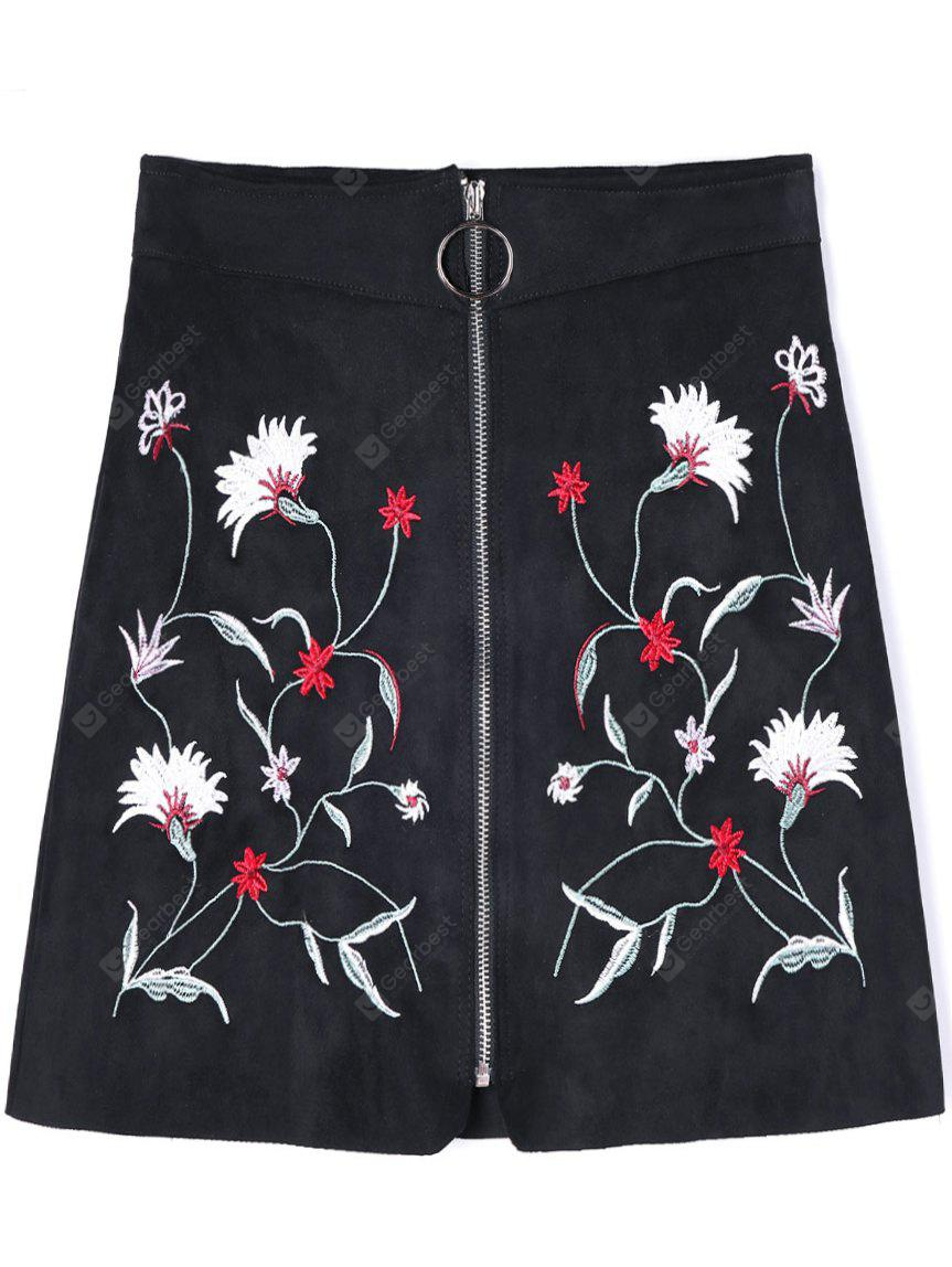 Zippered Floral Embroidered A-line Skirt