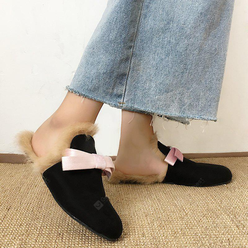 Non-slip Suede Bow Fuzzy Slippers
