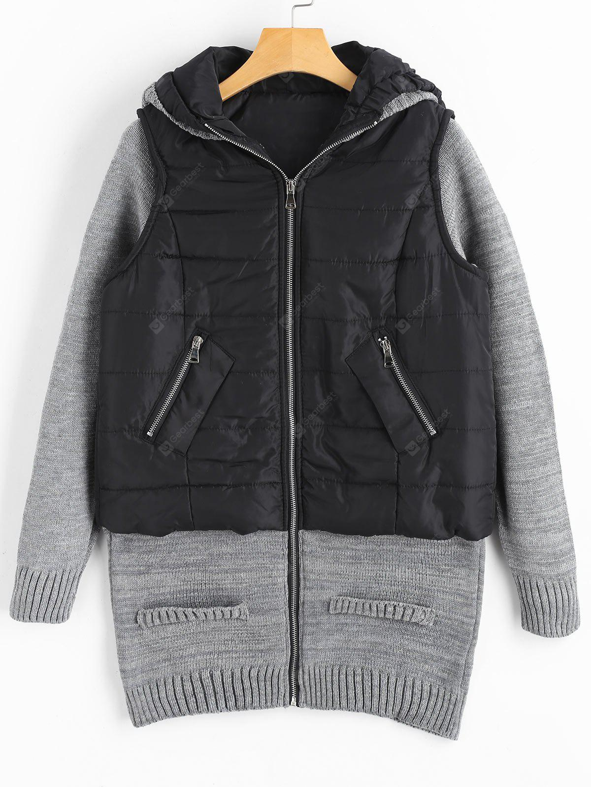 Knit Panel Padded Hooded Longline Coat
