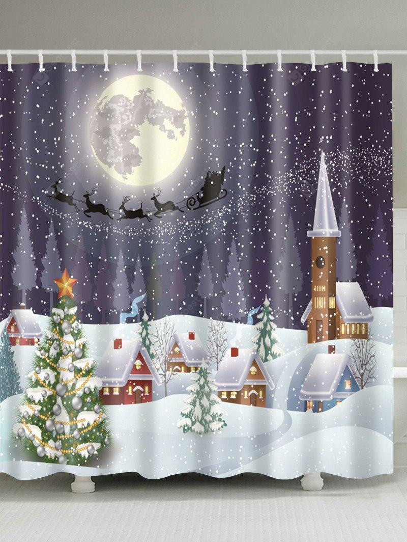 Snowing Night Fabric Waterproof Christmas Shower Curtain
