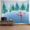 Wall Hanging Art Christmas Forest Santa Print Tapestry - COLORMIX