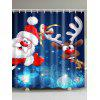 Polyester Waterproof Xmas Santa Elk Christmas Shower Curtain - DEEP BLUE