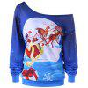 Plus Size Reindeer Skew Collar Christmas Sweatshirt - BLUE