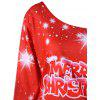 Merry Christmas Plus Size Skew Colllar Sudadera - ROJO