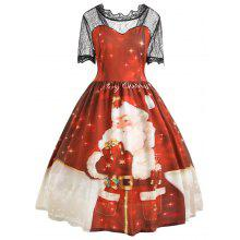 Merry Christmas Santa Claus Lace Plus Size Dress