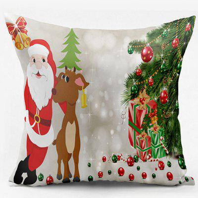 Christmas Deer Santa Claus Double Side Printed Throw Pillow Case