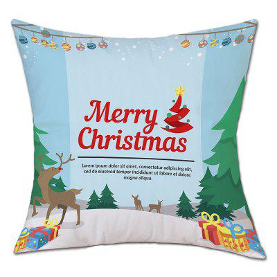 Christmas Forest Gifts Print Linen Pillowcase