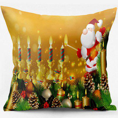 Christmas Candle Santa Claus Double Side Printed Pillow Case