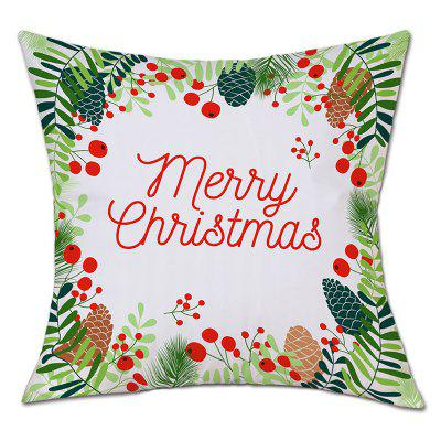 Christmas Leaves Print Linen Pillowcase