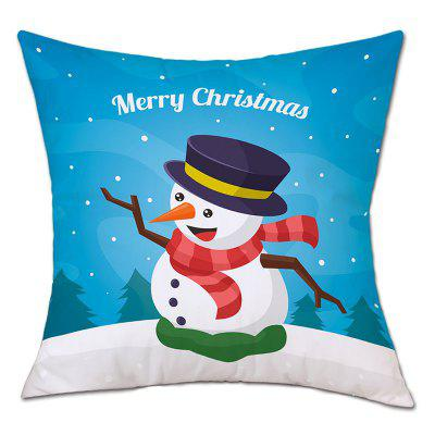 Christmas Snow Snowman Print Linen Pillowcase