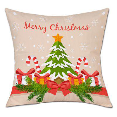 Cartoon Christmas Tree Gift Print Linen Pillowcase