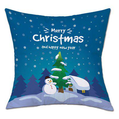 Forest House Christmas Print Linen Pillowcase