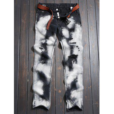 Tie-dyed Ripped Jeans with Button Fly