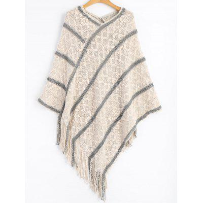Fringed Striped Poncho Sweater