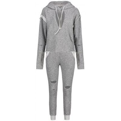 Heathered Keyhole Hoodie with Ripped Pants