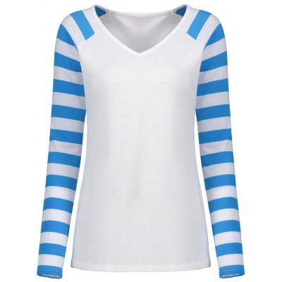 Striped Raglan Sleeve V Neck Top