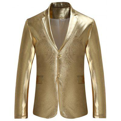 Buy GOLDEN L Lapel Single Breasted Metallic Color Blazer for $43.60 in GearBest store