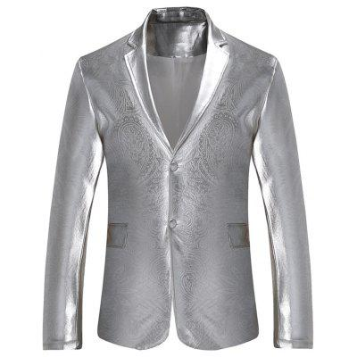 Buy SILVER S Lapel Single Breasted Metallic Color Blazer for $43.60 in GearBest store