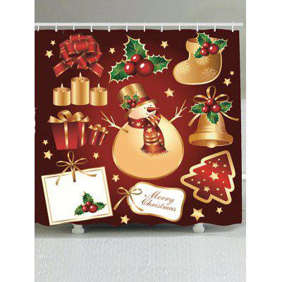 Christmas Snowman and Gift Printed Waterproof Shower Curtain
