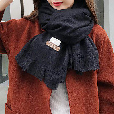 Outdoor Letter Pattern Embellished Artificial Wool Fringed Long Scarf