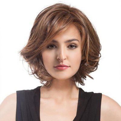 Short Inclined Bang Colormix Shaggy Curly Synthetic Wig