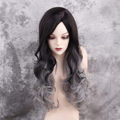 Long Side Parting Layered Fluffy Curly Colormix Synthetic Wig